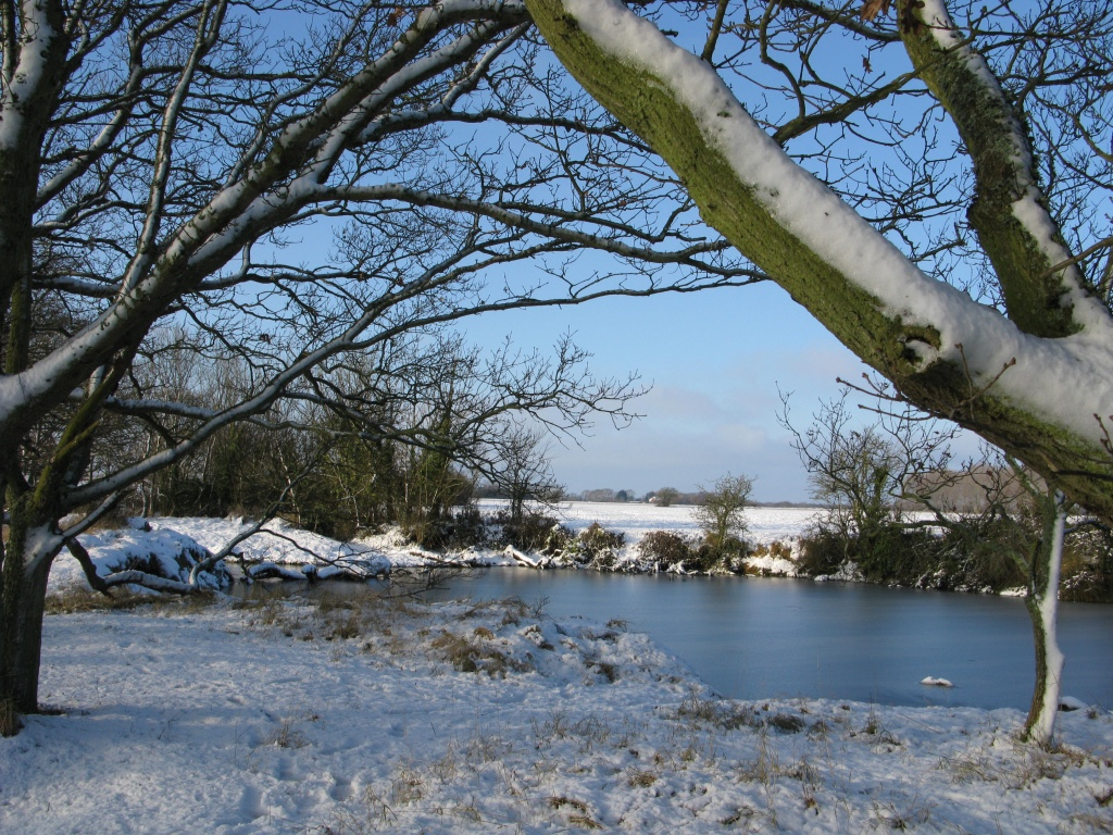 snowy pond and fields